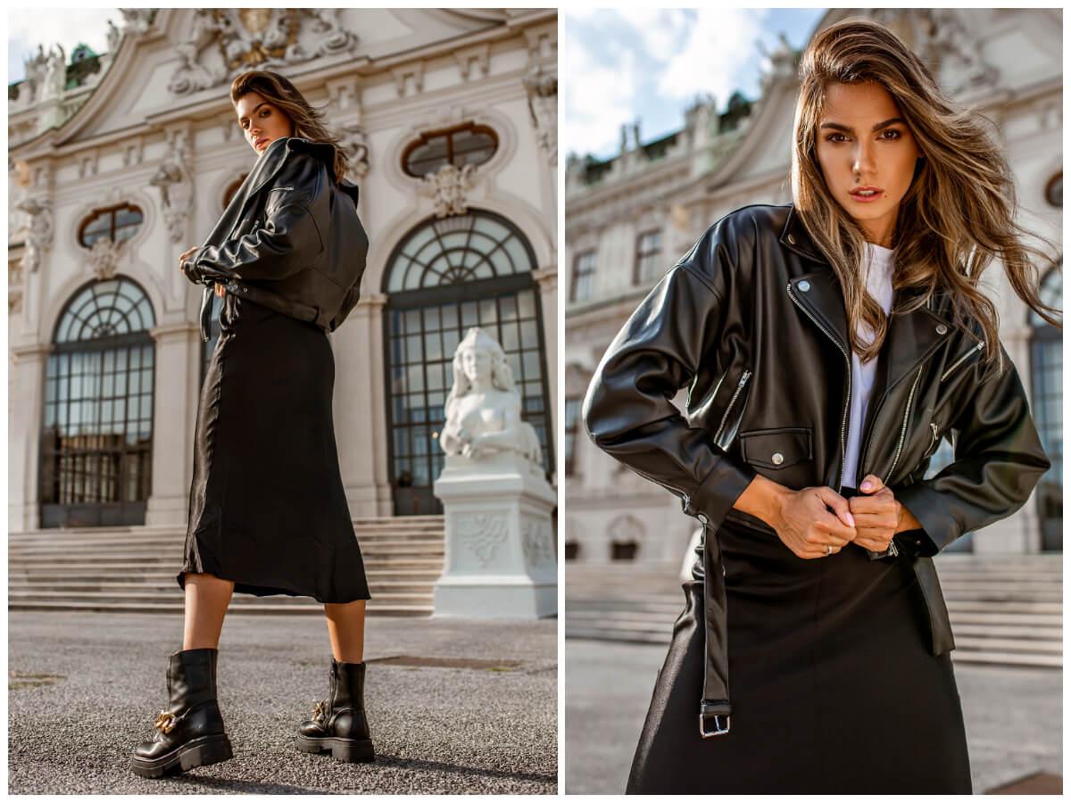 Czarna kurtka ramoneska w stylizacji na jesień