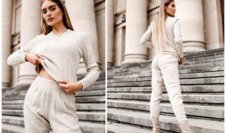 Dwuczęściowe sweterkowe komplety w miejskich stylizacjach