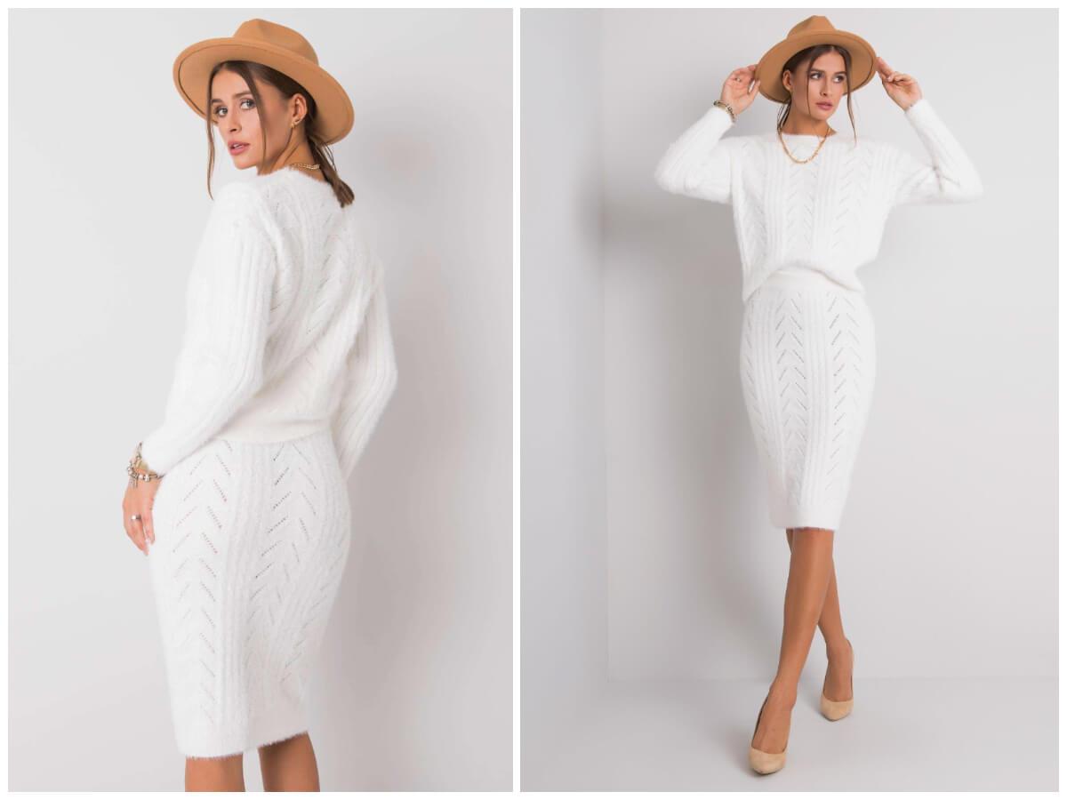 Elegancki sweterkowy komplet ze spódnicą w stylizacji